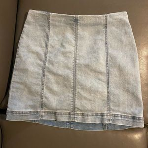 women's paneled denim mini skirt